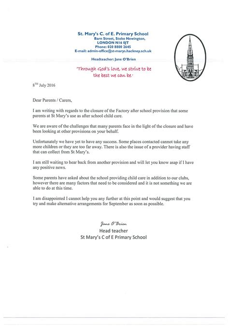 Sle Letter To School Informing About Child S Absence For Being Out Of Station factory letter st s church of primary school