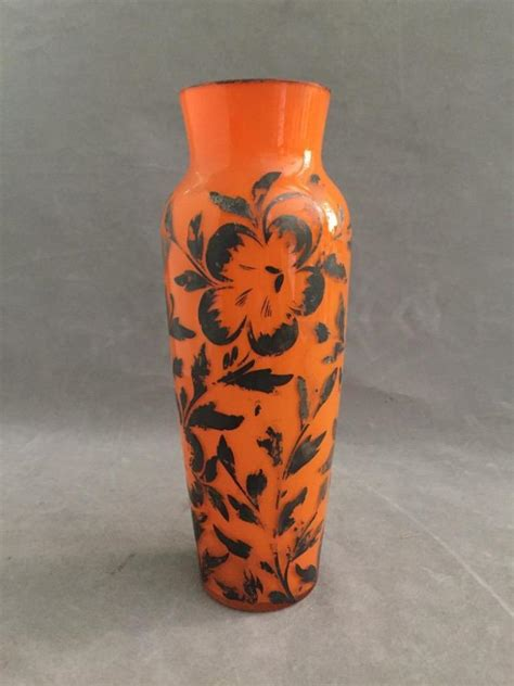 antique orange glass vase with silver overlay