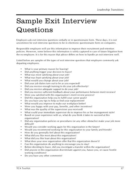 Exit Agreement Template hr sle exit questions
