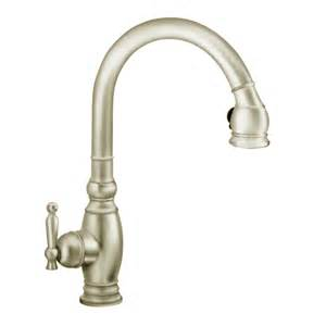 polished nickel kitchen faucet shop kohler vinnata vibrant brushed nickel 1 handle pull kitchen faucet at lowes