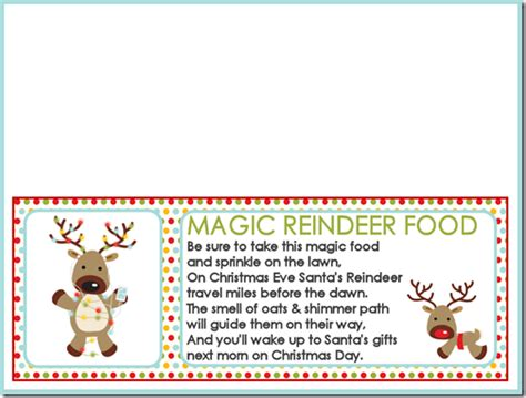 printable reindeer chow gift tag magic reindeer food recipe and printable treat bag toppers