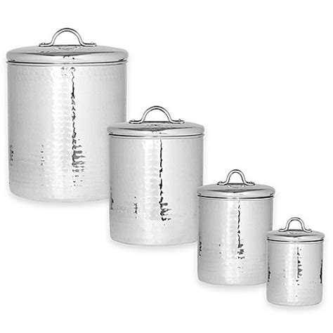 bed bath and beyond canister sets old dutch international hammered stainless steel 4 piece