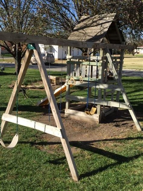 swing sets with sandbox swing set with fort slide sandbox nex tech classifieds