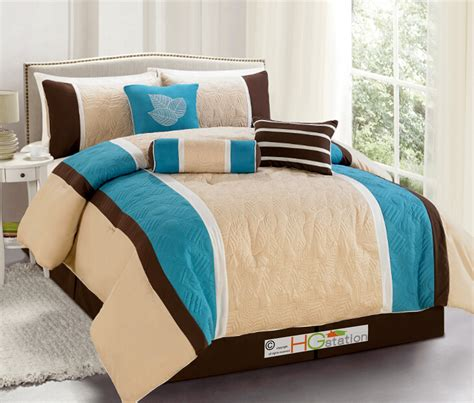 tan and white comforter set 7 p quilted botanical garden comforter set turquoise blue