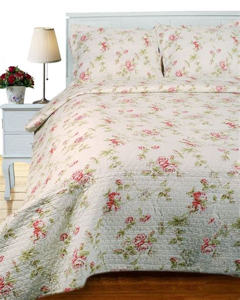 cottage rose king quilt set french pink red shabby