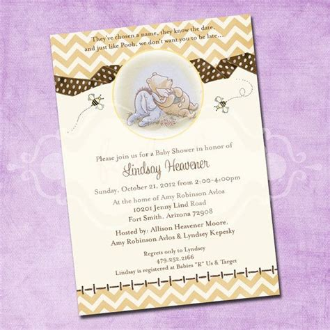 Classic Pooh Invitations Baby Shower by Classic Pooh Chevron Baby Shower Invitation Yellow And