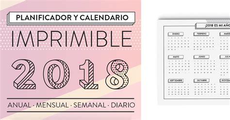Calendario De 2018 Completo Calendario Planificador Imprimible A 241 O Completo 2018