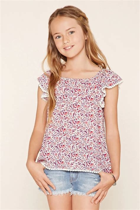 top tween stores forever 21 girls a woven top with cap sleeves an