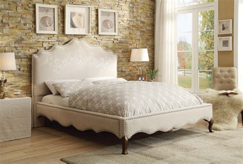 Fabric Platform Bed Homelegance Kaine Upholstered Platform Bed Beige Fabric 1889n 1 Homelegancefurnitureonline