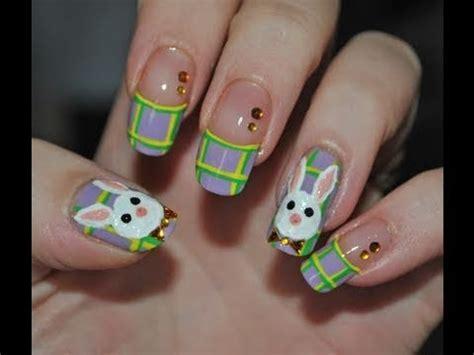 tutorial nail art pascoa plaid easter bunny nail art tutorial youtube