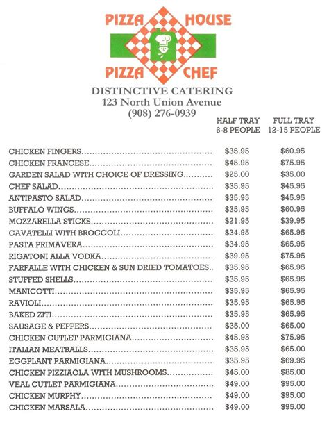 pizza house pizza chef printable catering menu for pizza house pizza chef 123 north union ave cranford nj