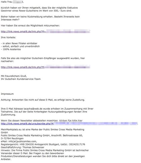 Mit Freundlichen Grüßen Max Mustermann Vorsicht E Mail Mit 500 Rewe Gutschein Ist Ein Gewinnspiel