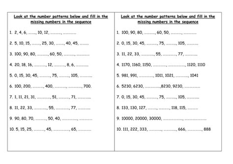 pattern sequences worksheet ks2 complete the number patterns and sequences by groov e chik