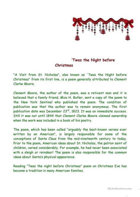 twas the night before christmas introduction worksheet
