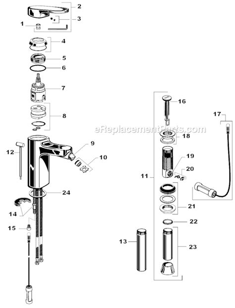 american standard bidet parts american standard 2506 011 parts list and diagram