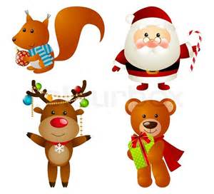 set of christmas cartoon characters stock vector colourbox