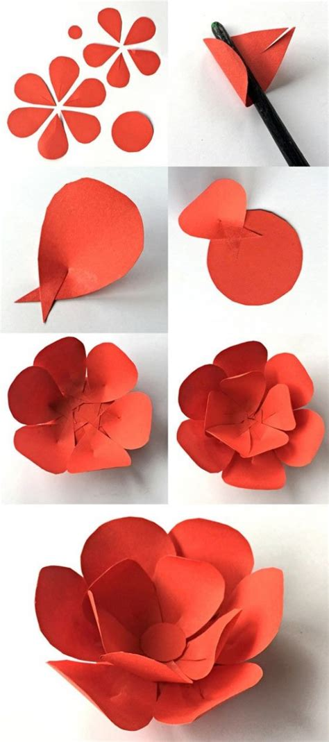 Flower With Papers - 12 step by step diy papers made flower craft ideas for