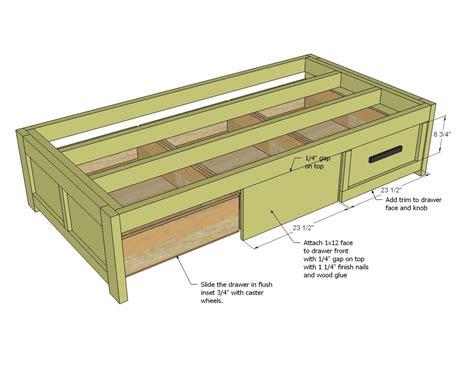 simple bed frame blueprints trundle drawers