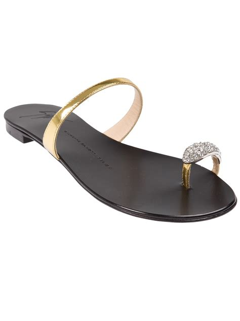 sandals with toe ring giuseppe zanotti toe ring sandal in metallic lyst