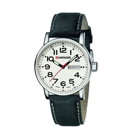 Swiss Army Hc8799 Black Leather wenger attitude day and date mens swiss army black