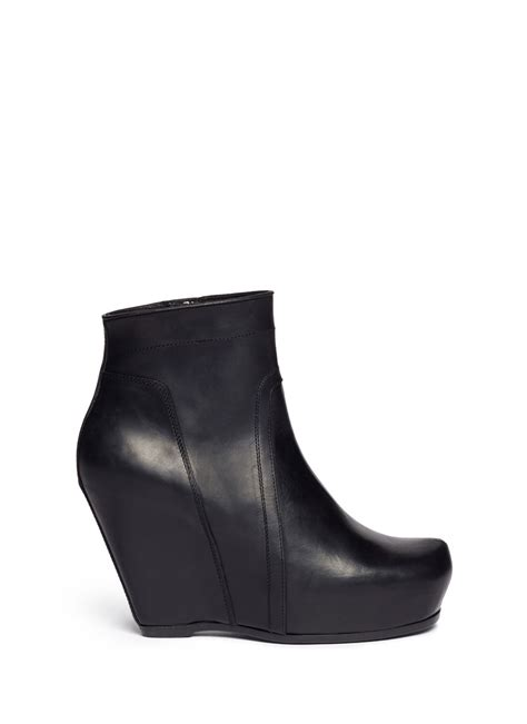 rick owens platform wedge leather ankle boots in black lyst