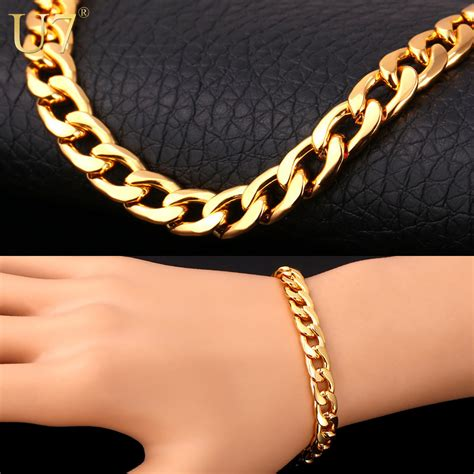 Gelang Rantai Titanium Gold Bracelet Chain Gold thick gold chain for reviews shopping thick