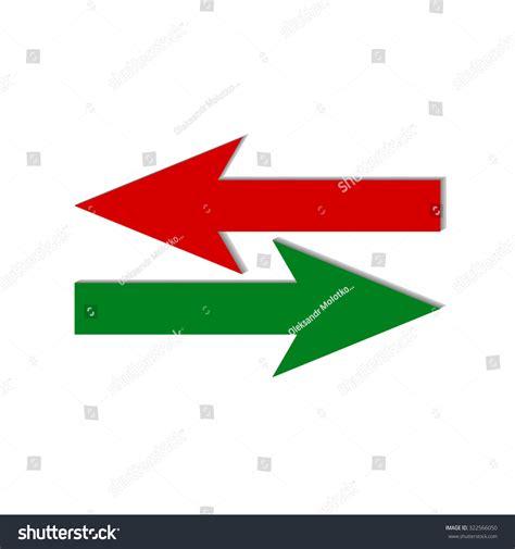 oppisite of red vector illustration red green arrows opposite stock vector