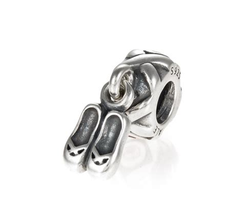 pandora silver and pink zirconia ballet shoes charm