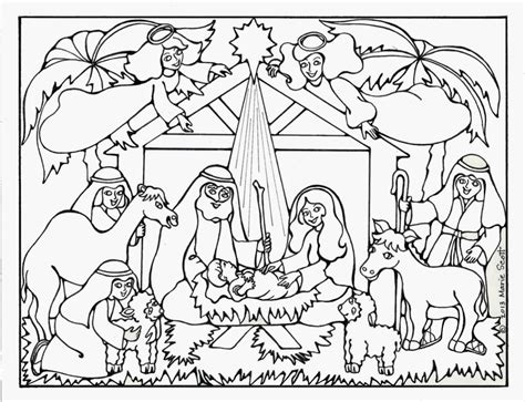 free coloring book nativity coloring pages for adults to print