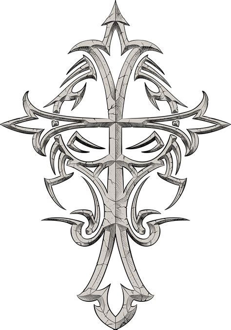 cross tribal tattoo designs grey ink tribal cross design