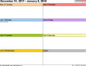 Calendar 2018 Printable Weekly Weekly Calendar 2018 For Word 12 Free Printable Templates