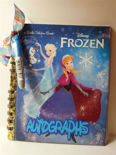 Handmade Disney Autograph Books - disney autograph book frozen elsa upcycled golden