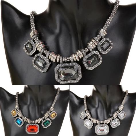 Pendant Statement Necklace Earrings Accessories vintage necklace for acrylic silver plated bib collar necklace rhinestone statement
