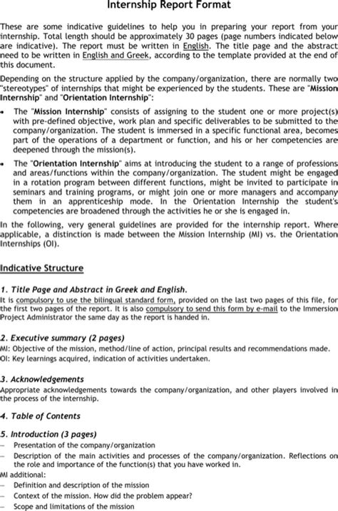 layout of internship report download internship report format for free formtemplate