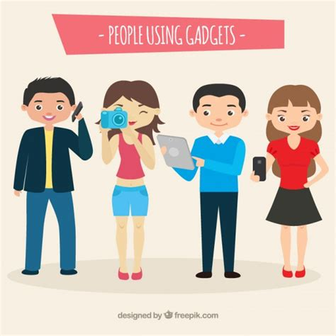 modern technology gadgets modern using gadgets vector free