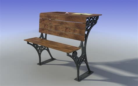 student bench old student wood bench 3d model
