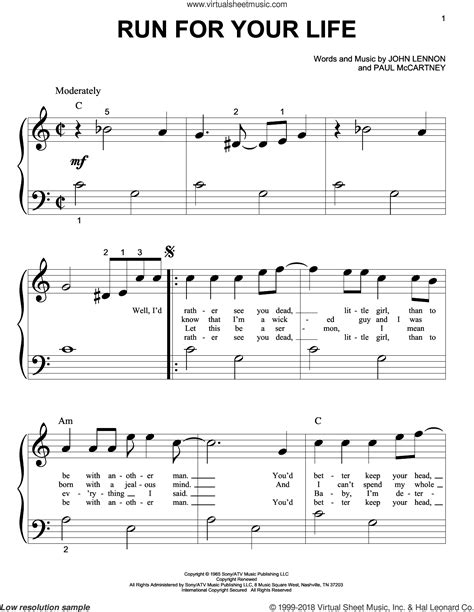 beatles run for your sheet for piano big note book