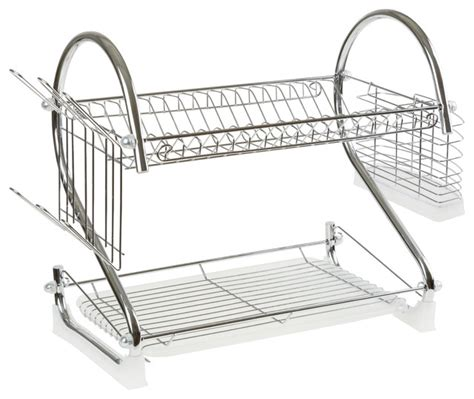 Two Tiered Dish Rack by Chrome Dish Drying Rack 2 Tiered With Cup And Utensil
