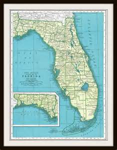 antique map florida 1940 s map page buy 3 maps by knickoftime