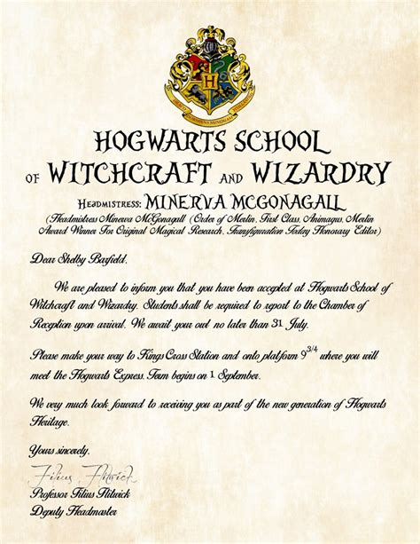Acceptance Letter To Hogwarts School Of Witchcraft And Wizardry personalized harry potter acceptance letter hogwarts