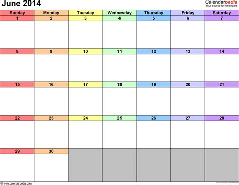 June 2014 Calendar Template by June 2014 Calendars For Word Excel Pdf