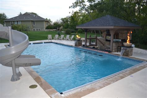 Midwest Home Remodeling Design by Rectangular Pool Sunken Kitchen Area Contemporary