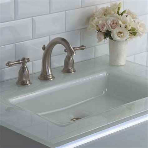 Balletto Collection Vanity Glass Top w/ Integrated Sink or Stone Top w/ Rectangular Sink in