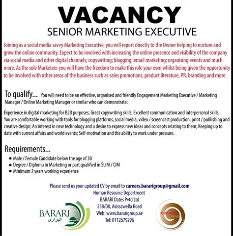 What Is The Minimum Experience Required For Executive Mba by Senior Marketing Executive Vacancy In Sri Lanka