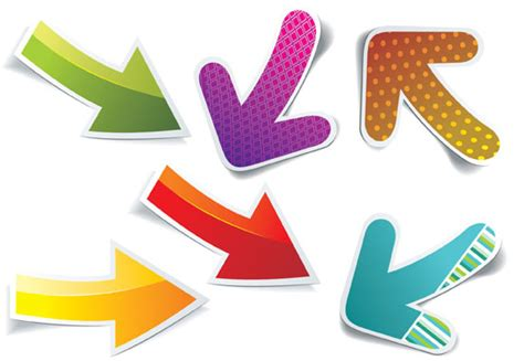 arrow stickers design elements vector vector