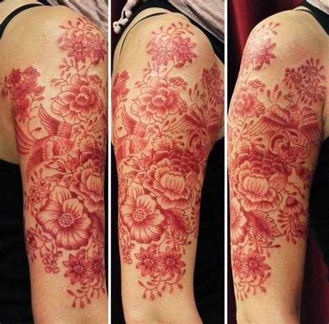 tattoo lettering in red ink red ink tattoo flower sleeve tattoomagz