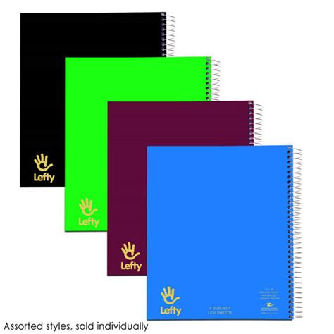 Lefty 3 Section Notebook With Double Pockets 120 Sheets