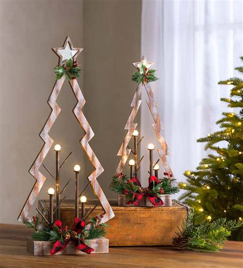 tabletop lighted wooden christmas trees