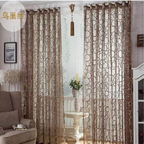 living room panel curtains high quality birds nest pattern window screens decorative sheer curtain panel for living room