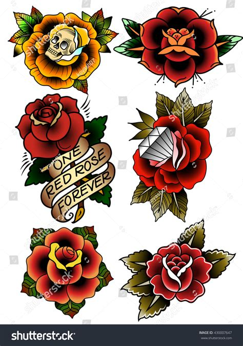 old school tattoo roses traditional flowers set school stock vector
